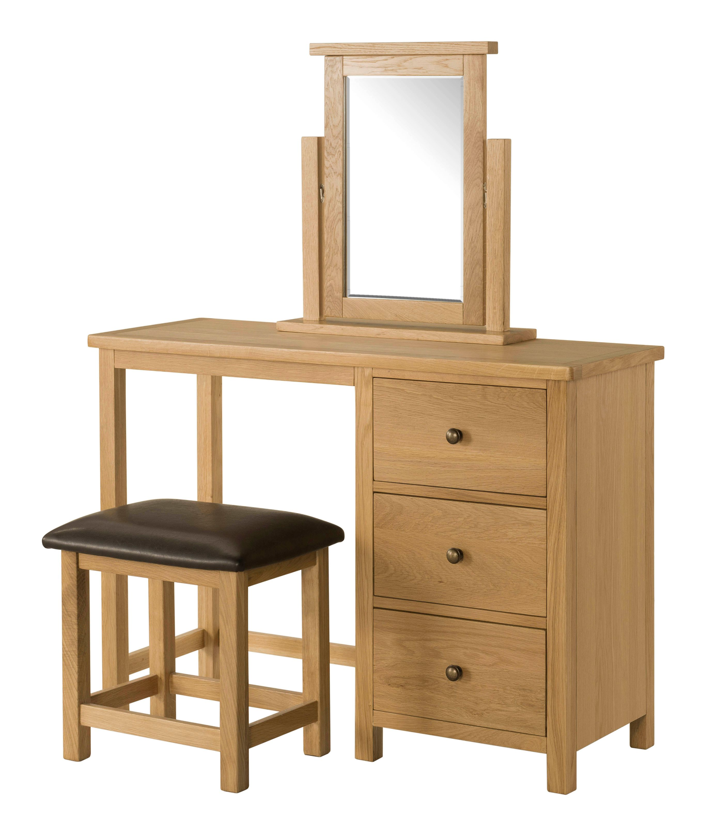 BROUGH OAK Dressing Table, Stool and Mirror