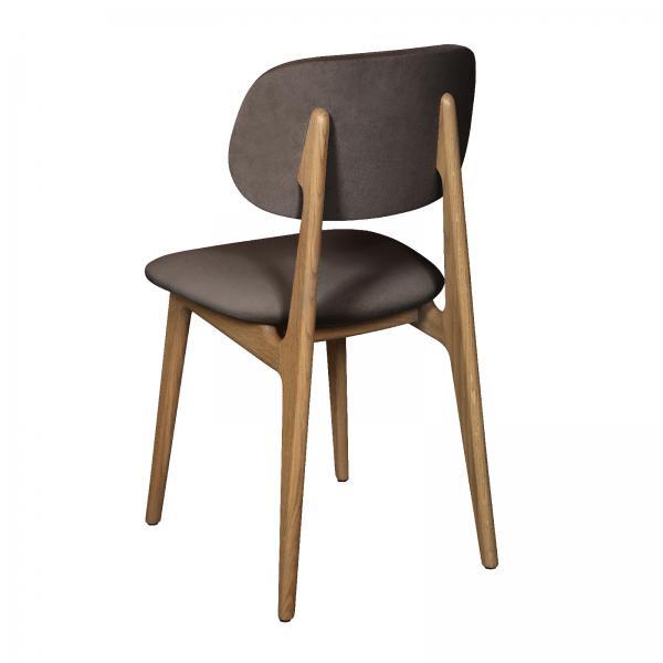 TAMBOUR Bari Chair - Upholstered Seat and Back - Granite/Silver Velvet