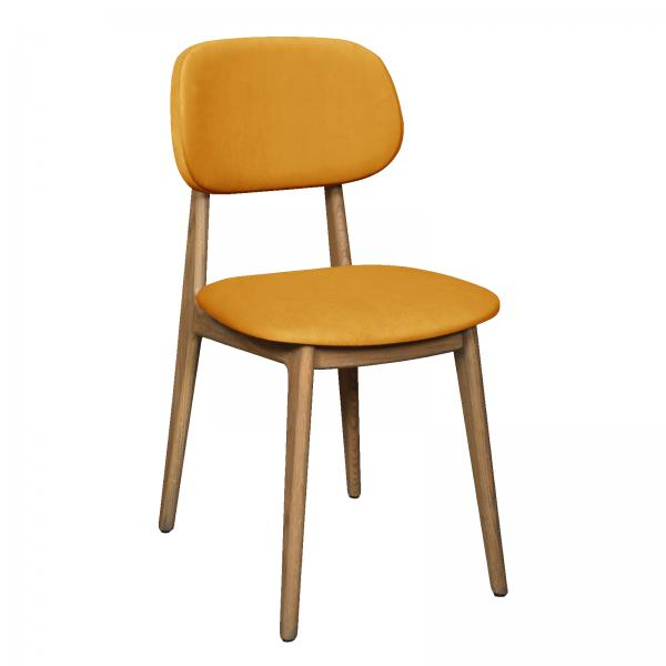 TAMBOUR Bari Chair - Upholstered Seat and Back - Saffron/Mustard Velvet
