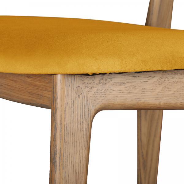 TAMBOUR Bari Chair - Upholstered Seat and Back - Saffron/Mustard Velvet