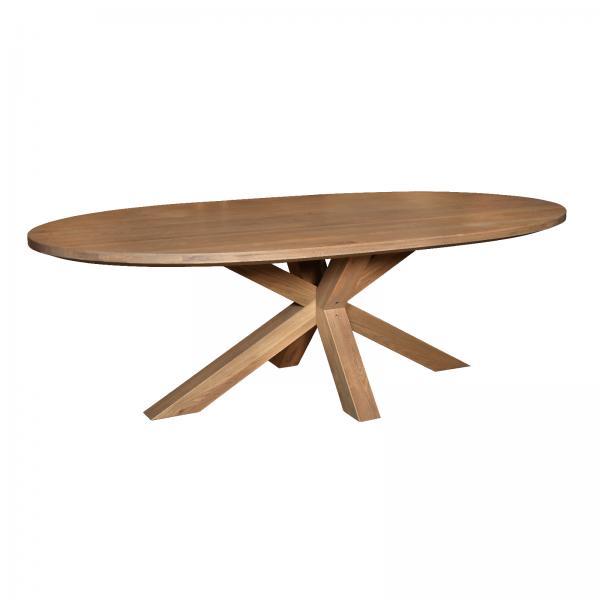 TAMBOUR Grey Oiled - Barkington 1800 Oval Table (Double X Pedestal Base)