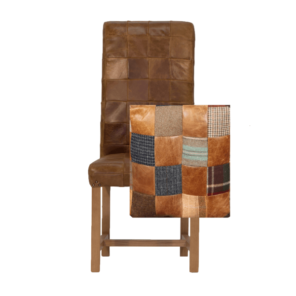 Upholstered Rollback Patchwork Chair 3L Leather Only & Wool Mix