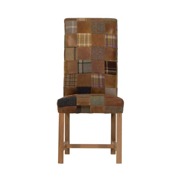 Upholstered Retford Patchwork Chair Leather Mix & Wool