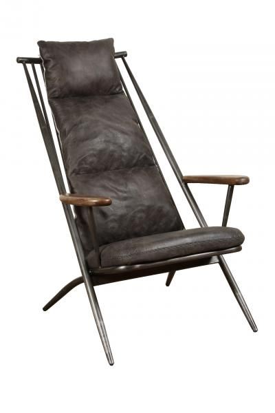 VINTAGE Huntingdon Studio Chair (Gunmetal frame Grey aniline leather cover)
