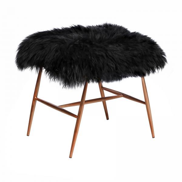 VINTAGE Dolly Baa Baa Stool (Copper frame Black sheeps wool cover)