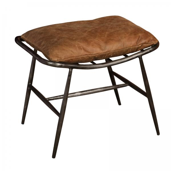 VINTAGE Ely Stool (Gunmetal frame Brown aniline leather cover)