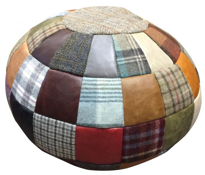 VINTAGE Beach Ball Bean Bag Leather Mix & Wool Mix