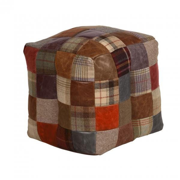 VINTAGE Bean Bag Leather Mix & Wool Mix