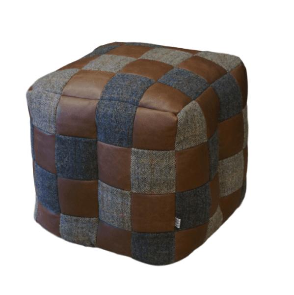 VINTAGE Harris Tweed & Brown Leather Patchwork Bean bag