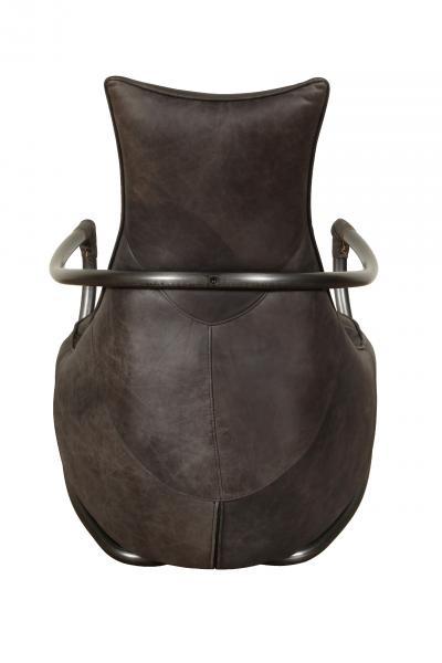 VINTAGE Dallas Retro Relax Chair (Gunmetal frame Grey Aniline Leather Cover)