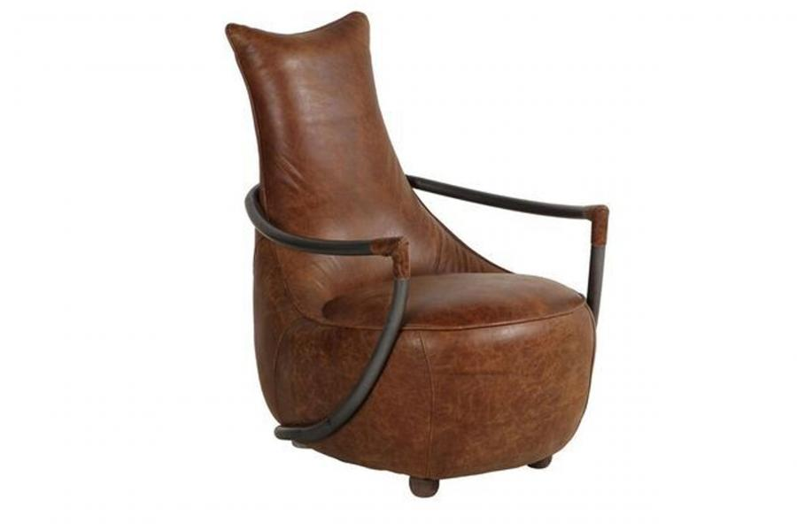 VINTAGE Maverick Retro Relax Chair (Gunmetal frame Brown Aniline Leather Cover)