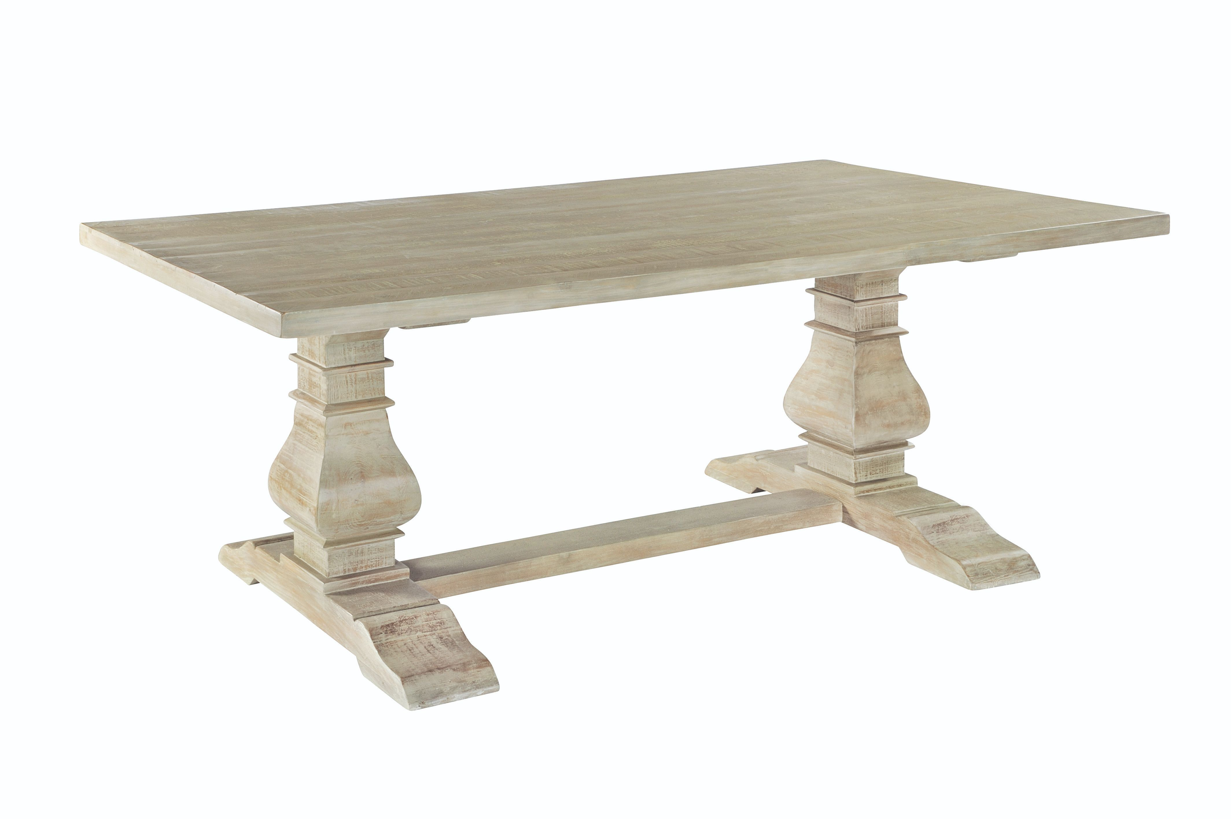 BROUGHTON REFECTORY DINING TABLE In Lime-washed Timber