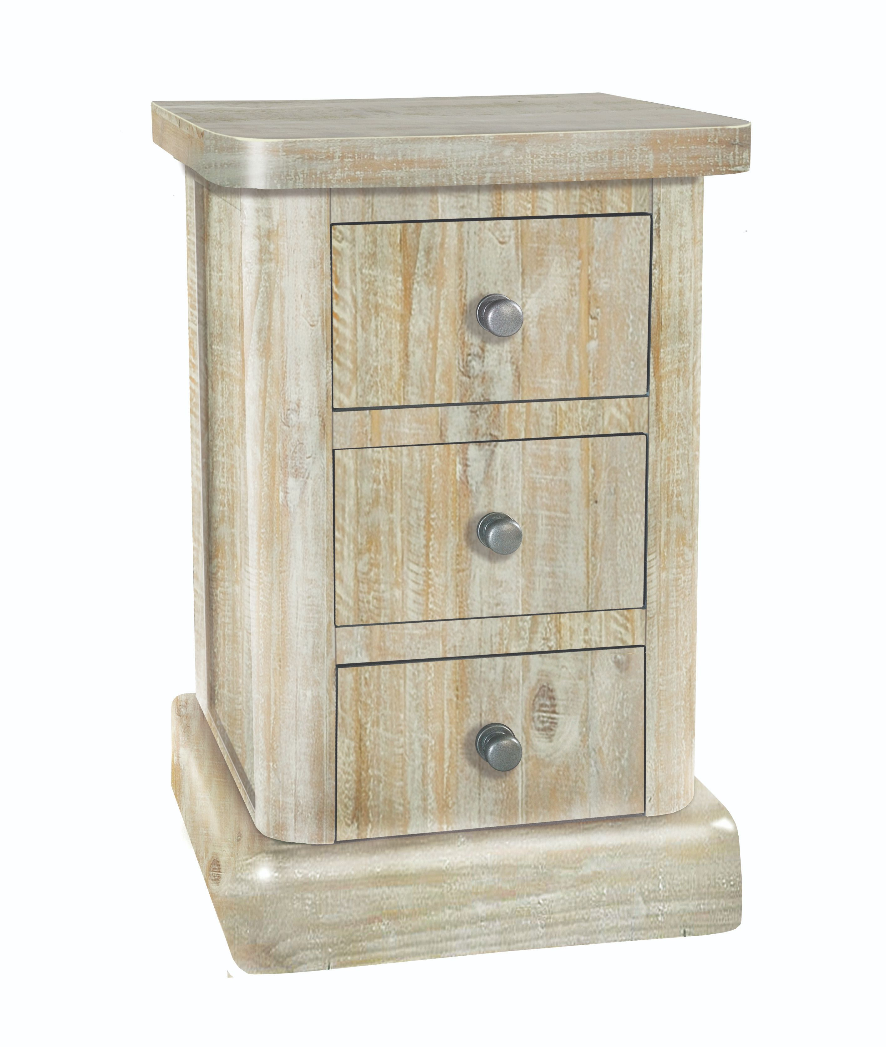 BROUGHTON 3 DRAWER LAMP CHEST In Lime-washed Timber