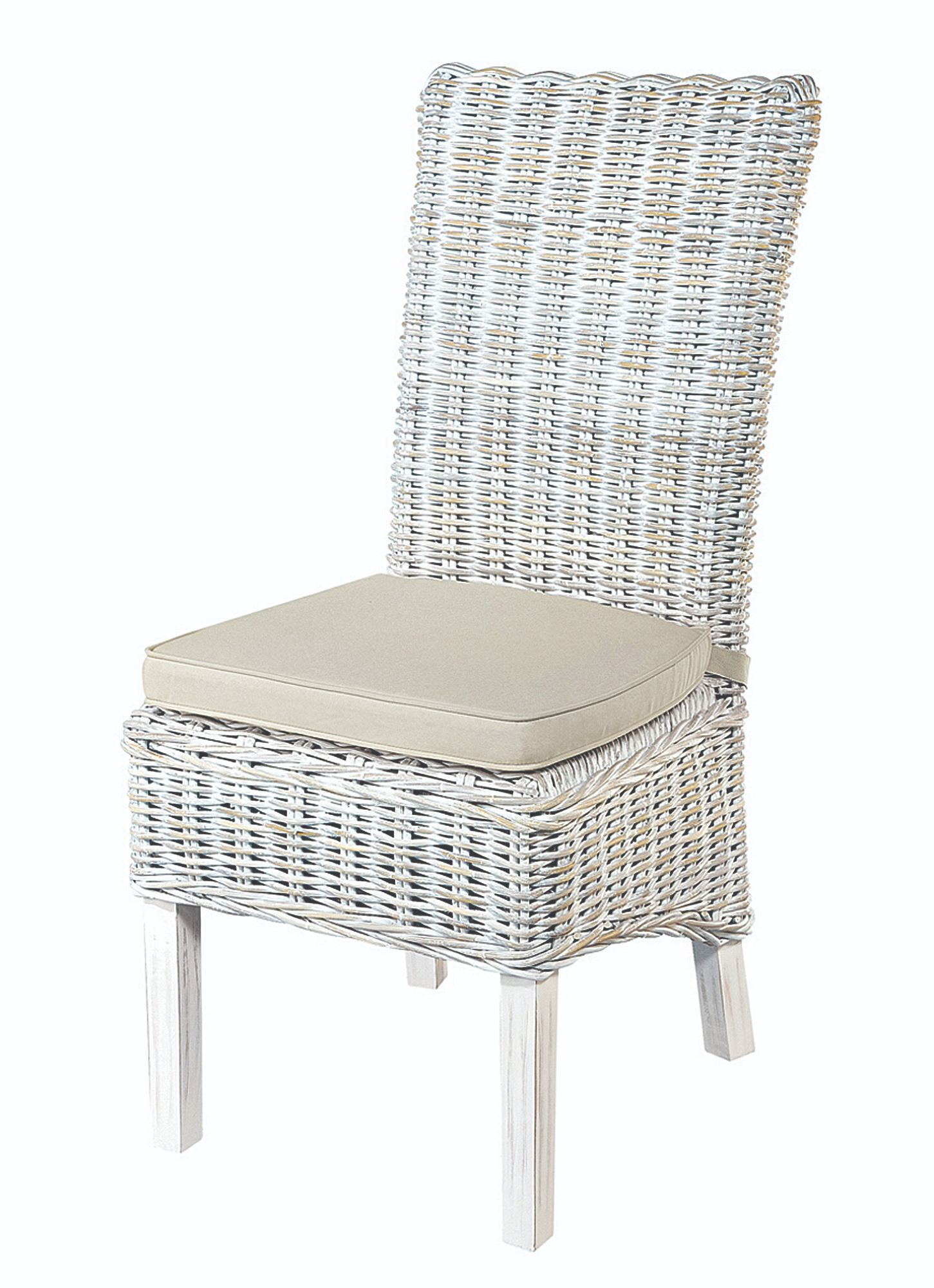 MAYA DINING CHAIR White Wash Rattan