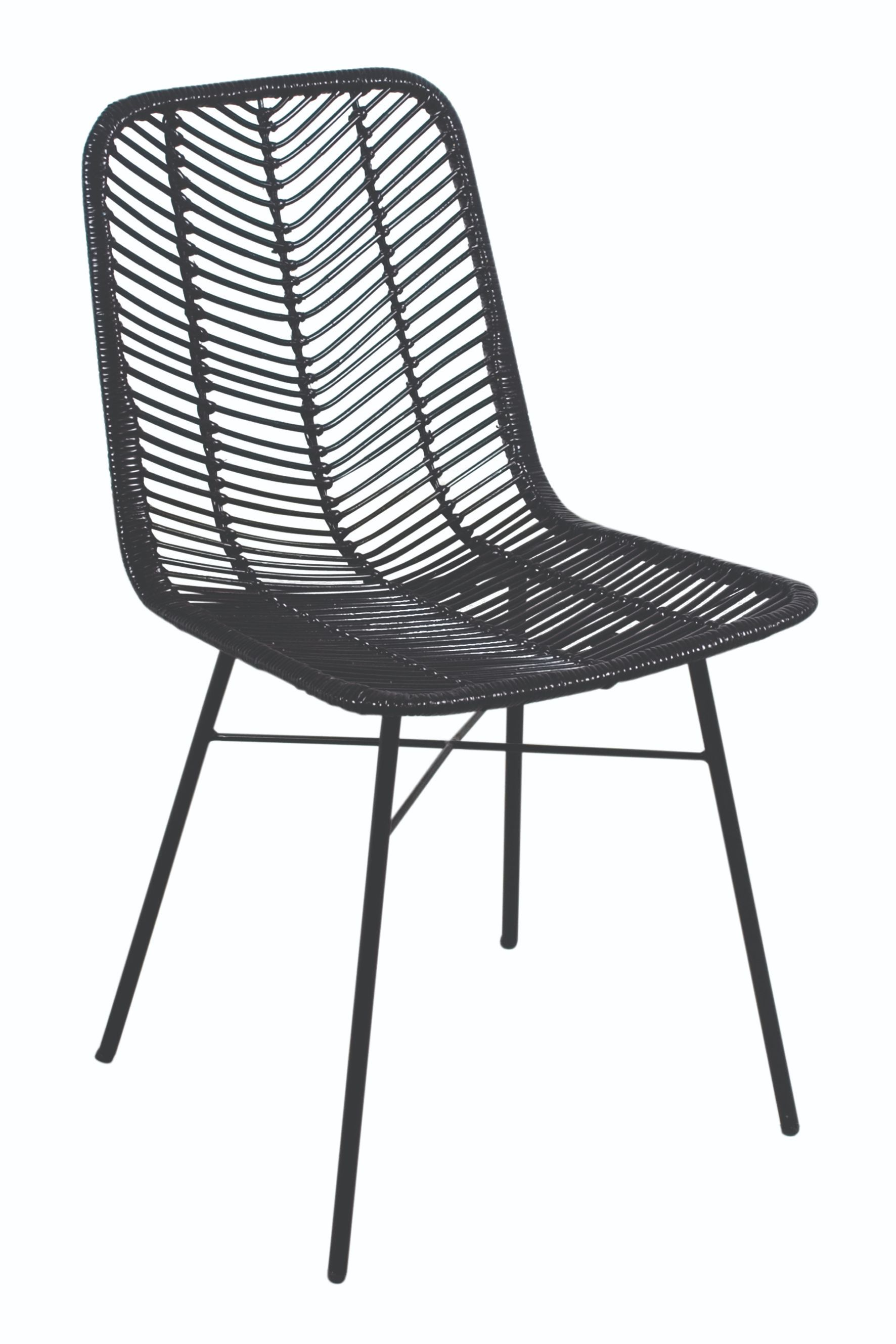 MAYA Black Rattan & Metal Chair