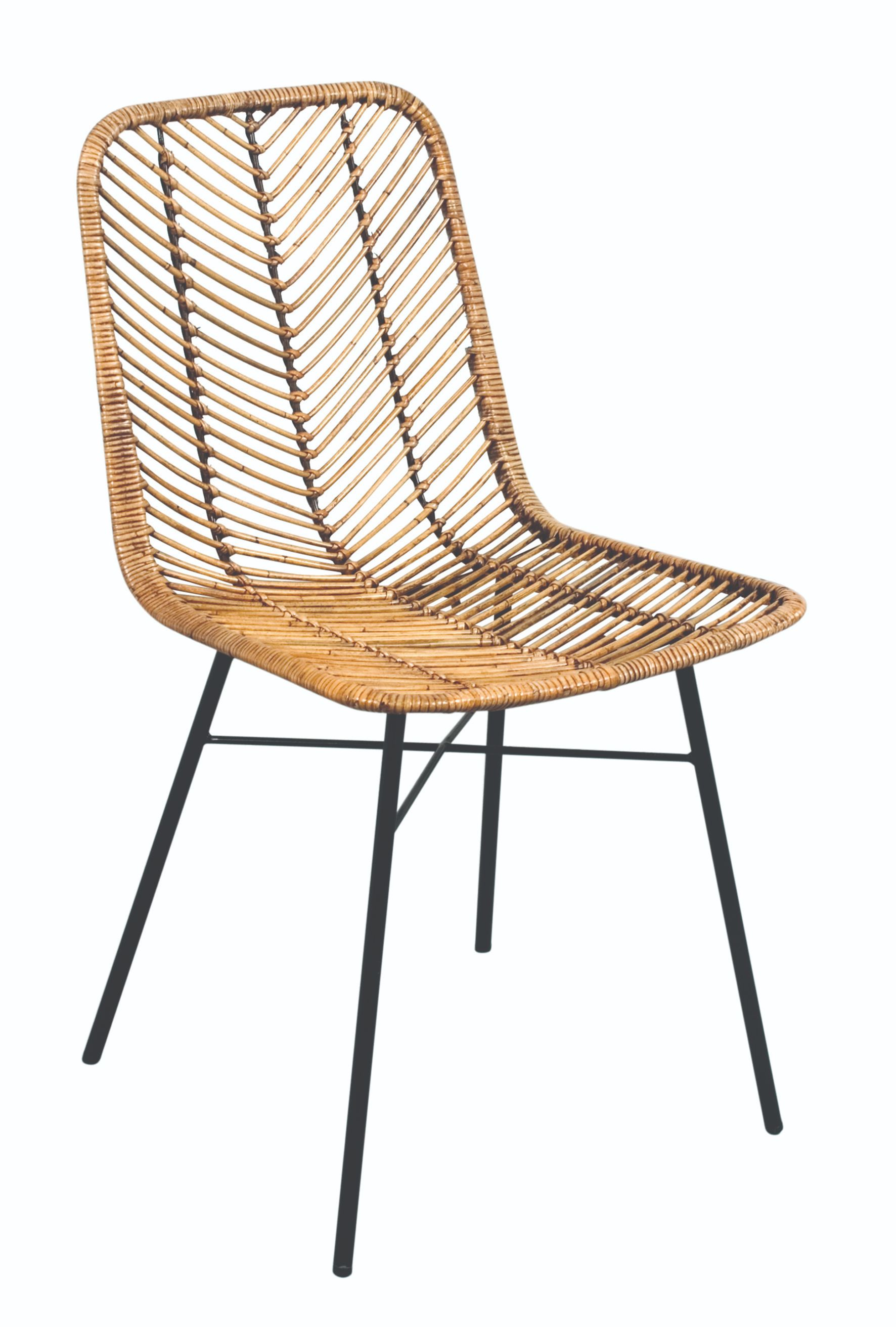 MAYA Honey Rattan & Metal Chair