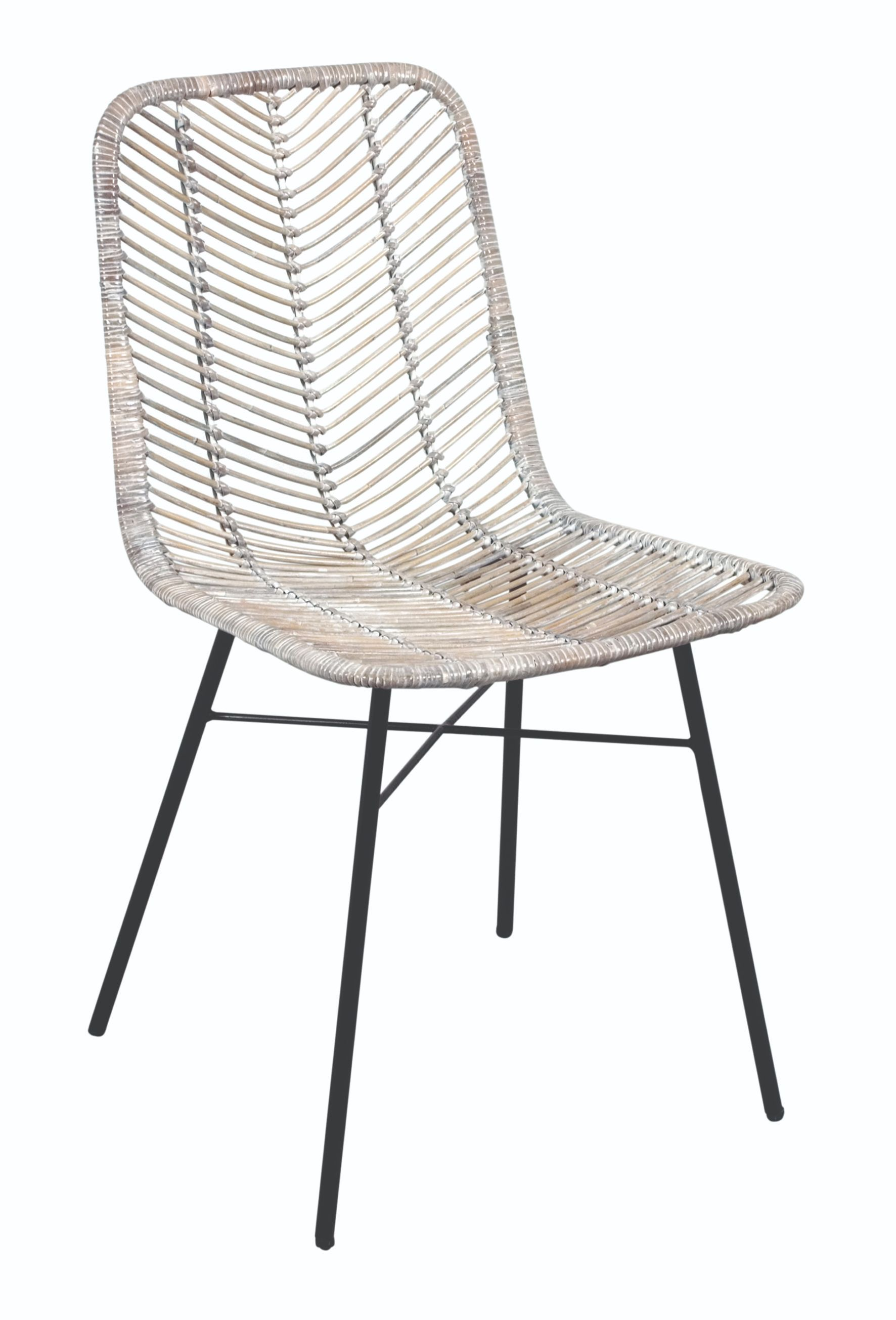MAYA White Wash Rattan & Metal Chair