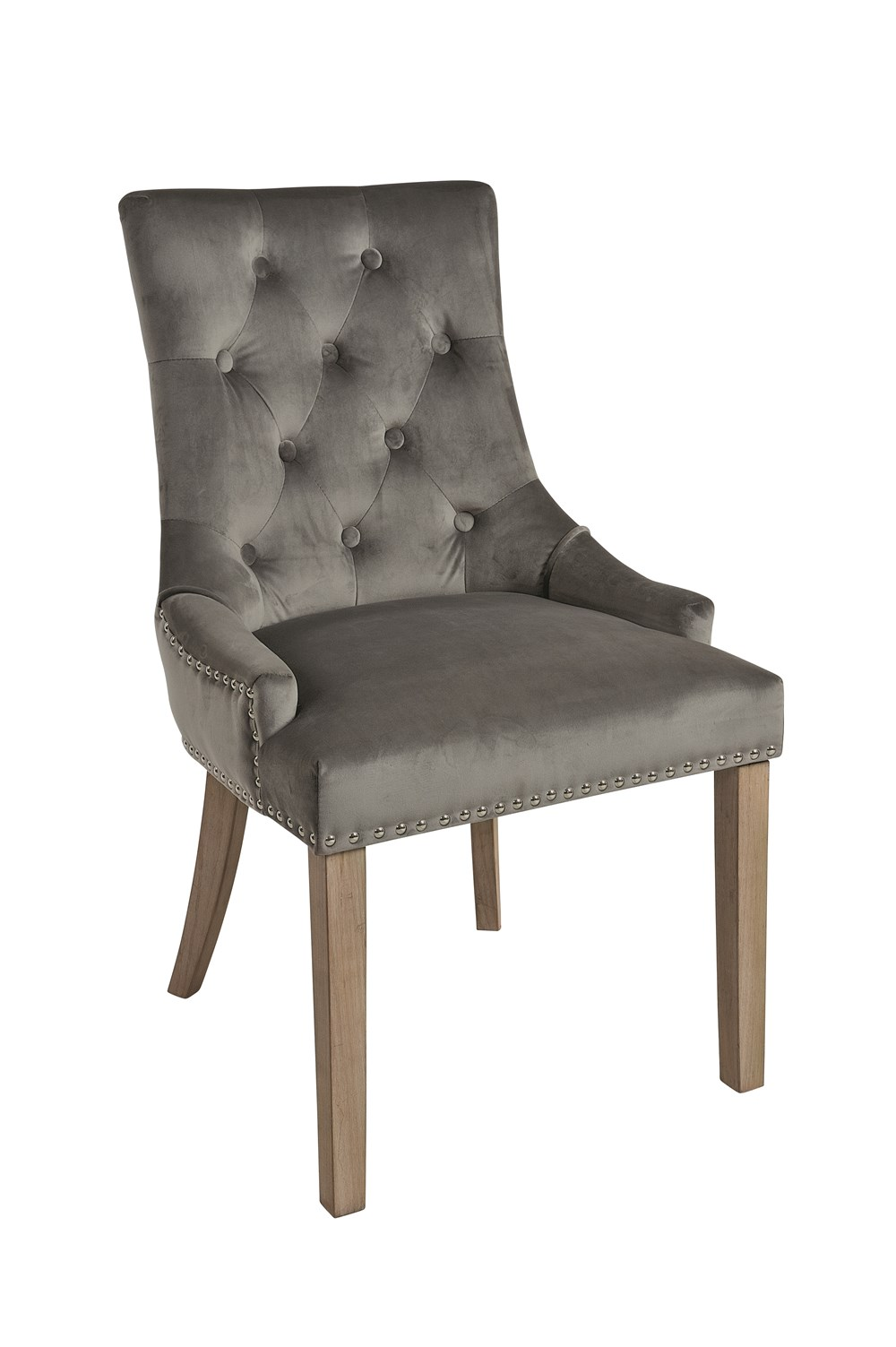 VICKY CHAIR Charcoal Upholstered Chair with Vintage Legs