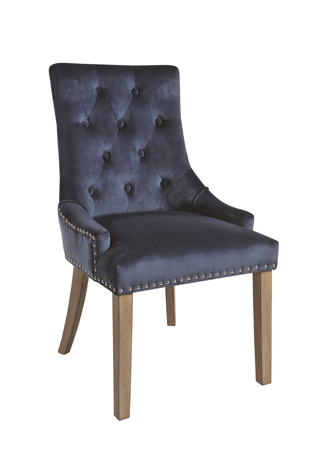 VICKY CHAIR Prussian Blue Upholstered Chair with Vintage Legs