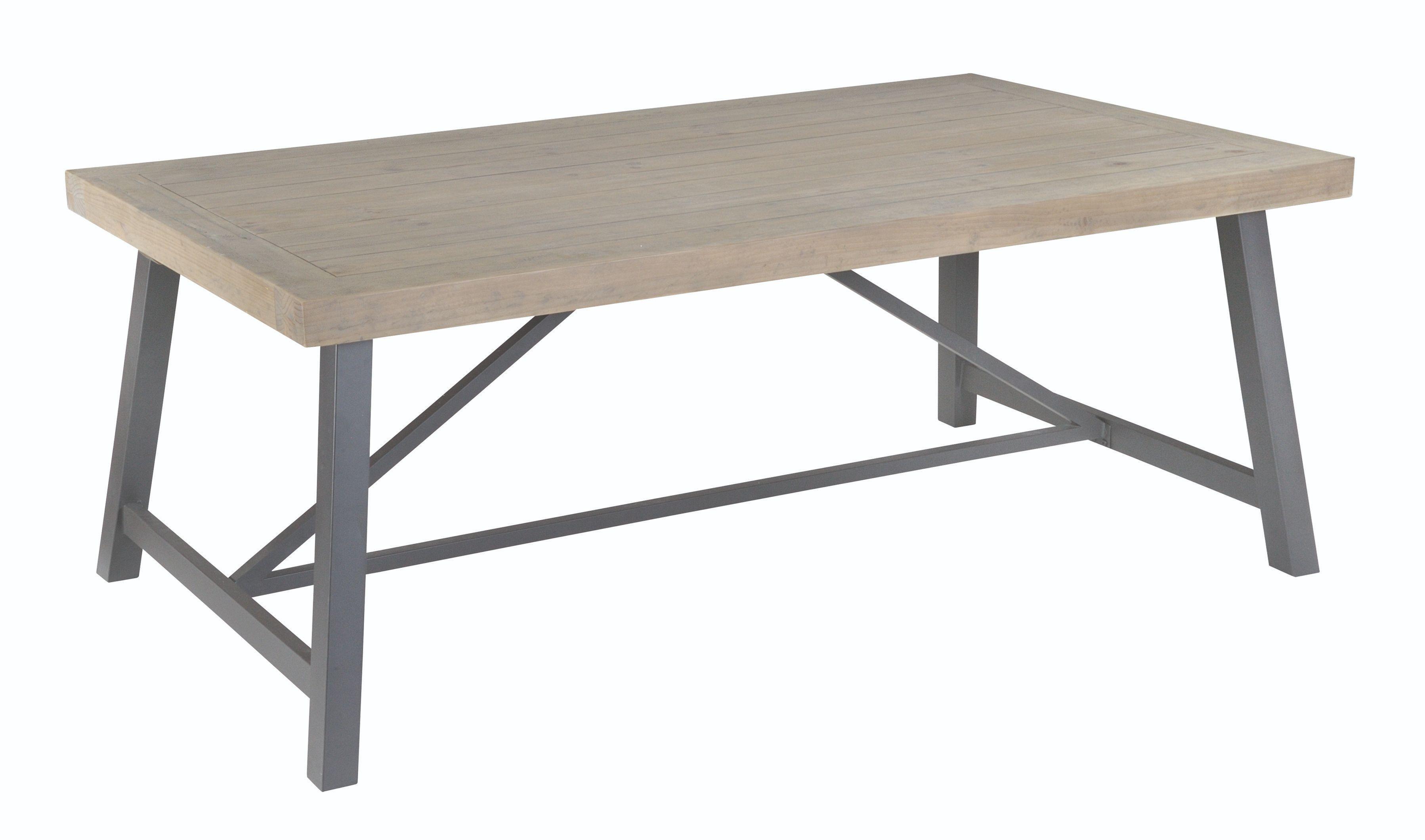 EDDISON 160 DINING TABLE Grey Wash & Steel