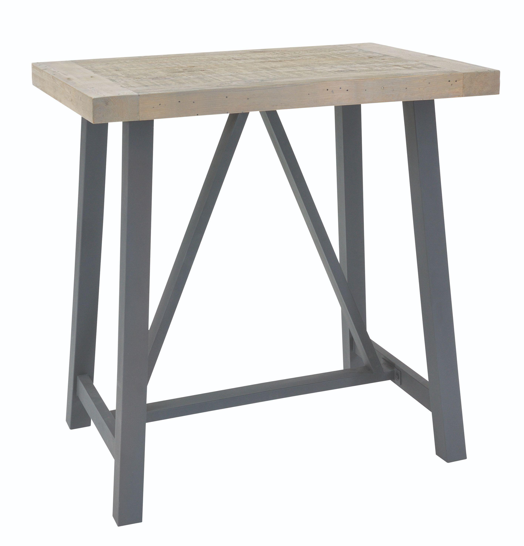 EDDISON BAR TABLE Grey Wash & Steel