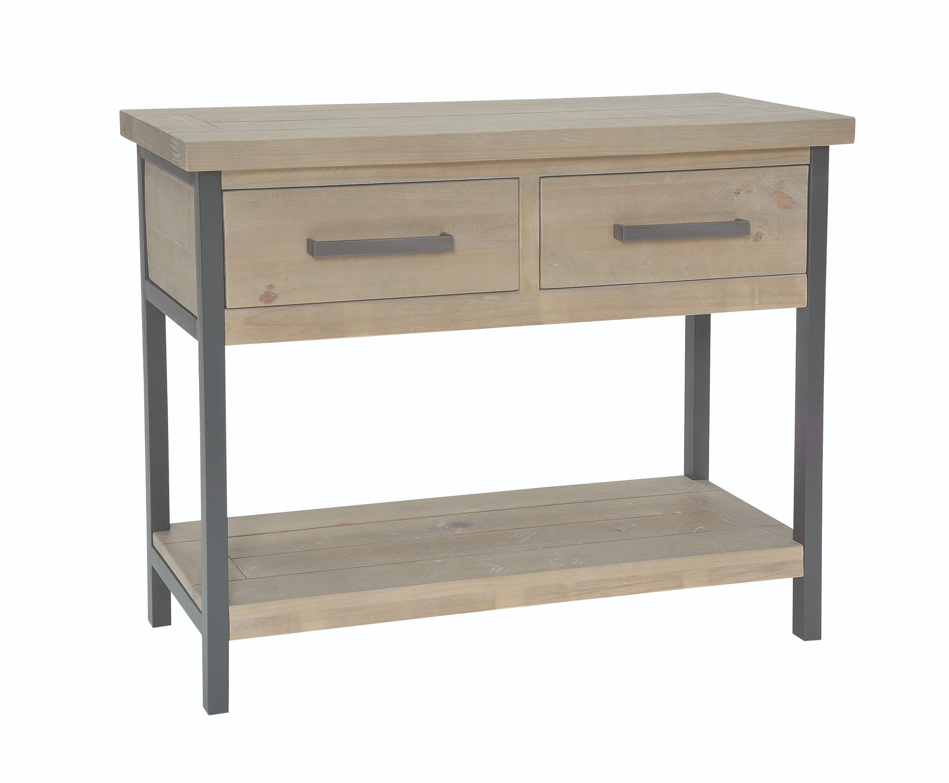 EDDISON CONSOLE TABLE Grey Wash & Steel