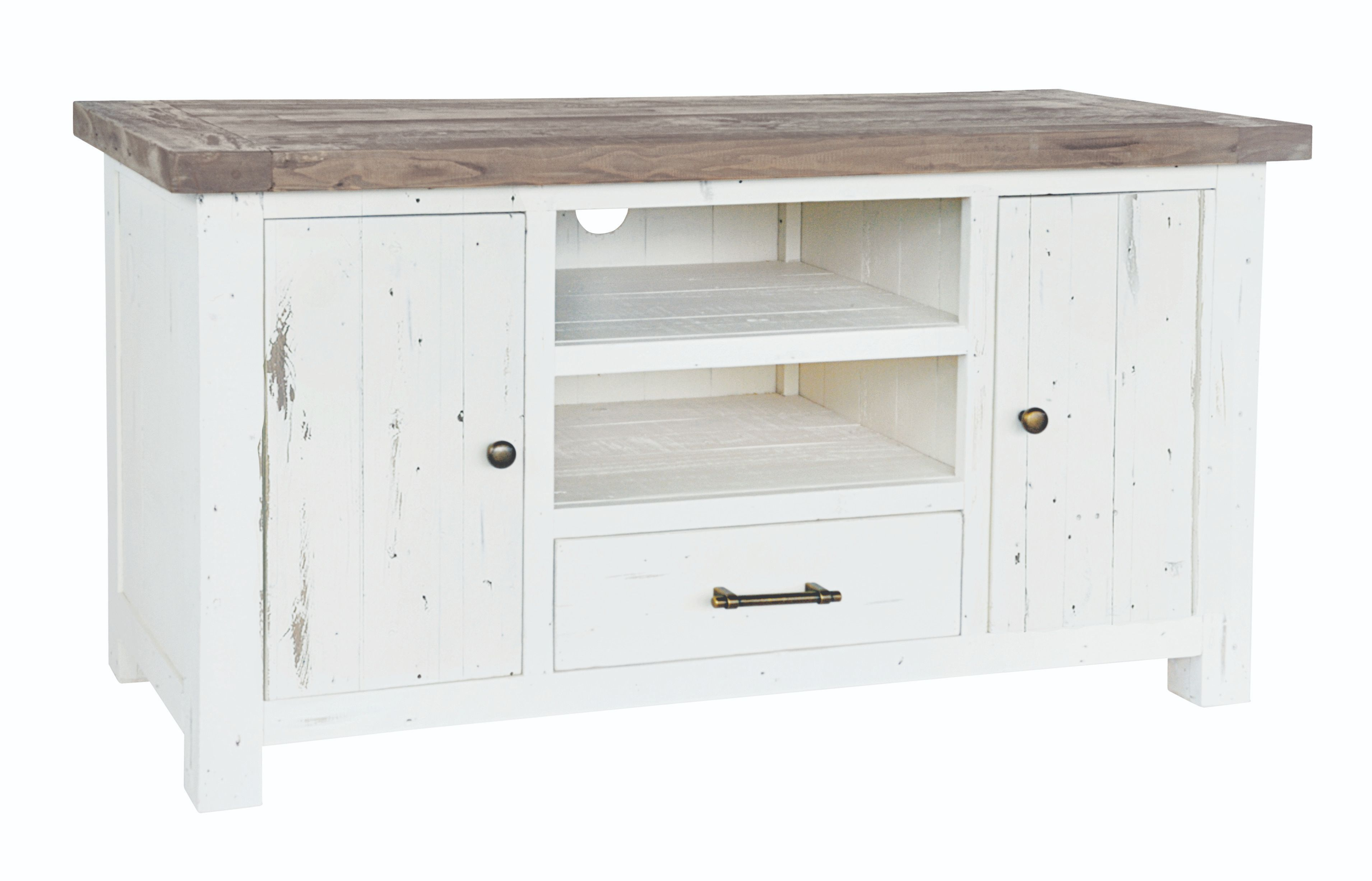 PURBECK TV UNIT Distressed Paint & Driftwood