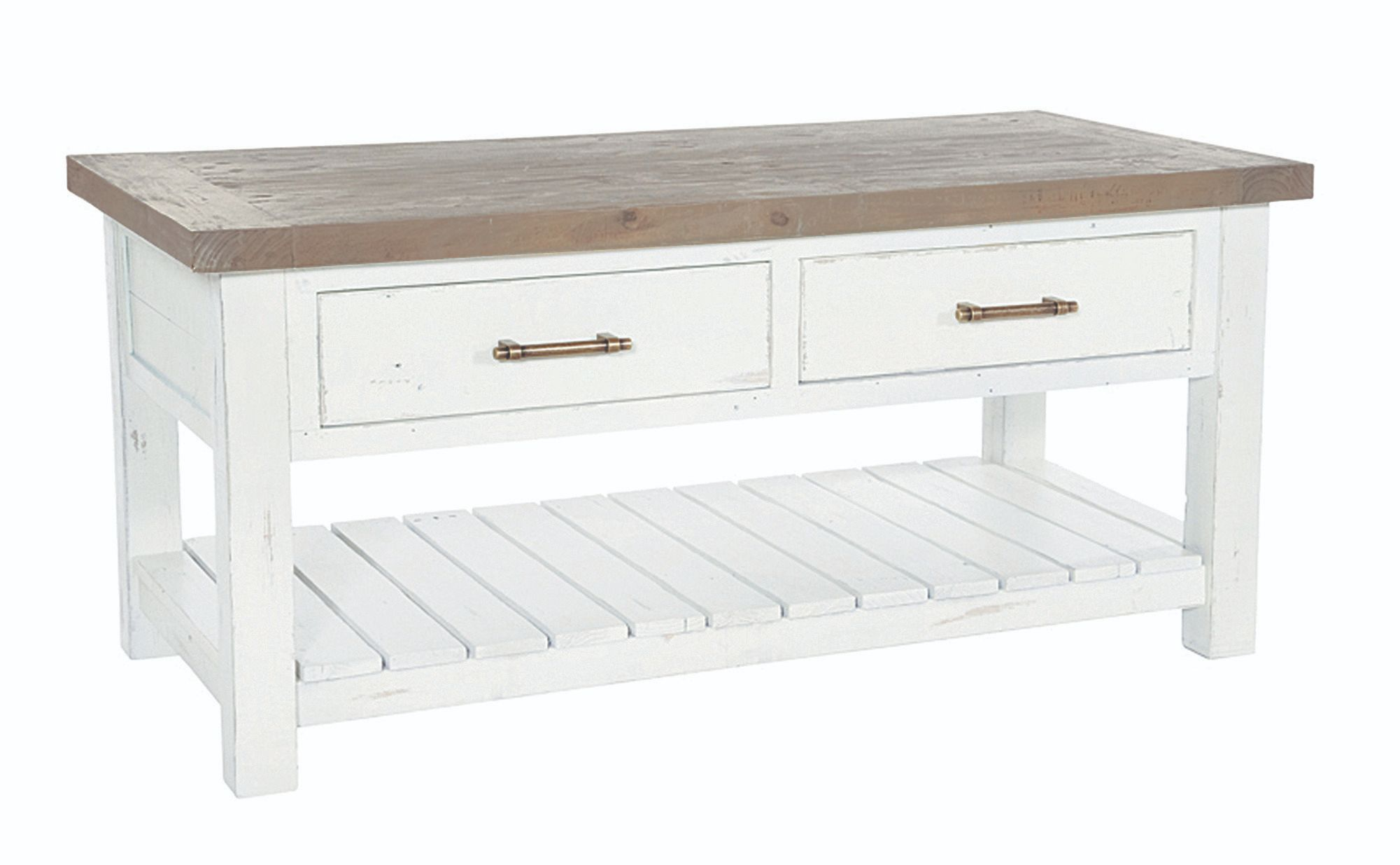 PURBECK COFFEE TABLE Distressed Paint & Driftwood