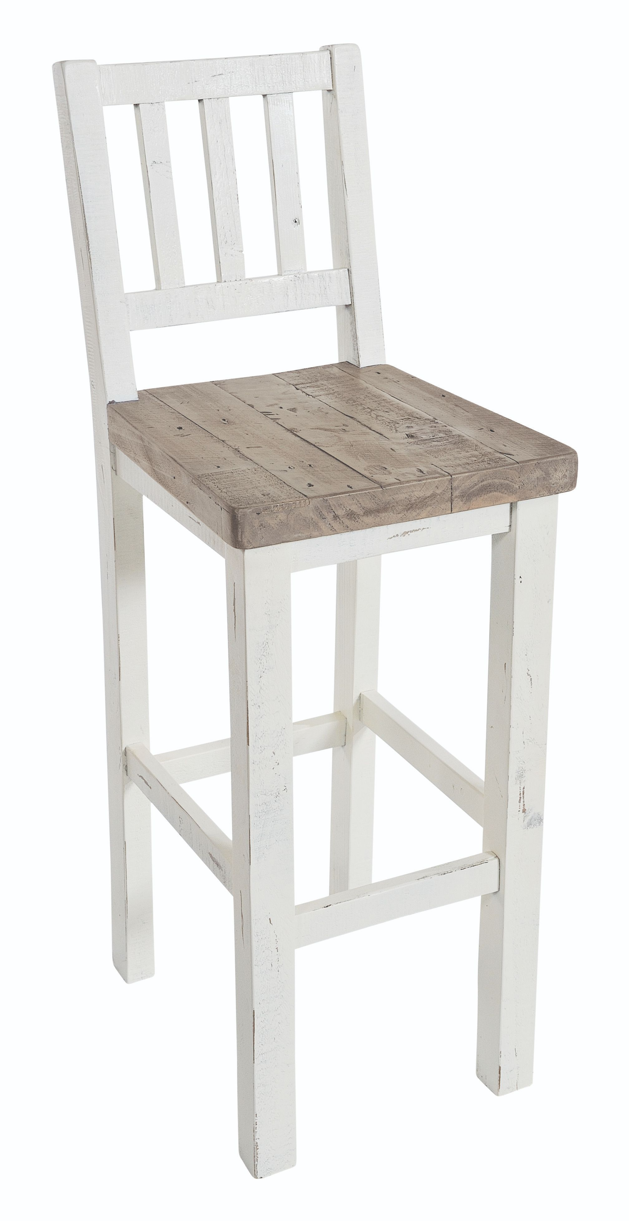 PURBECK BAR STOOL Distressed Paint & Driftwood