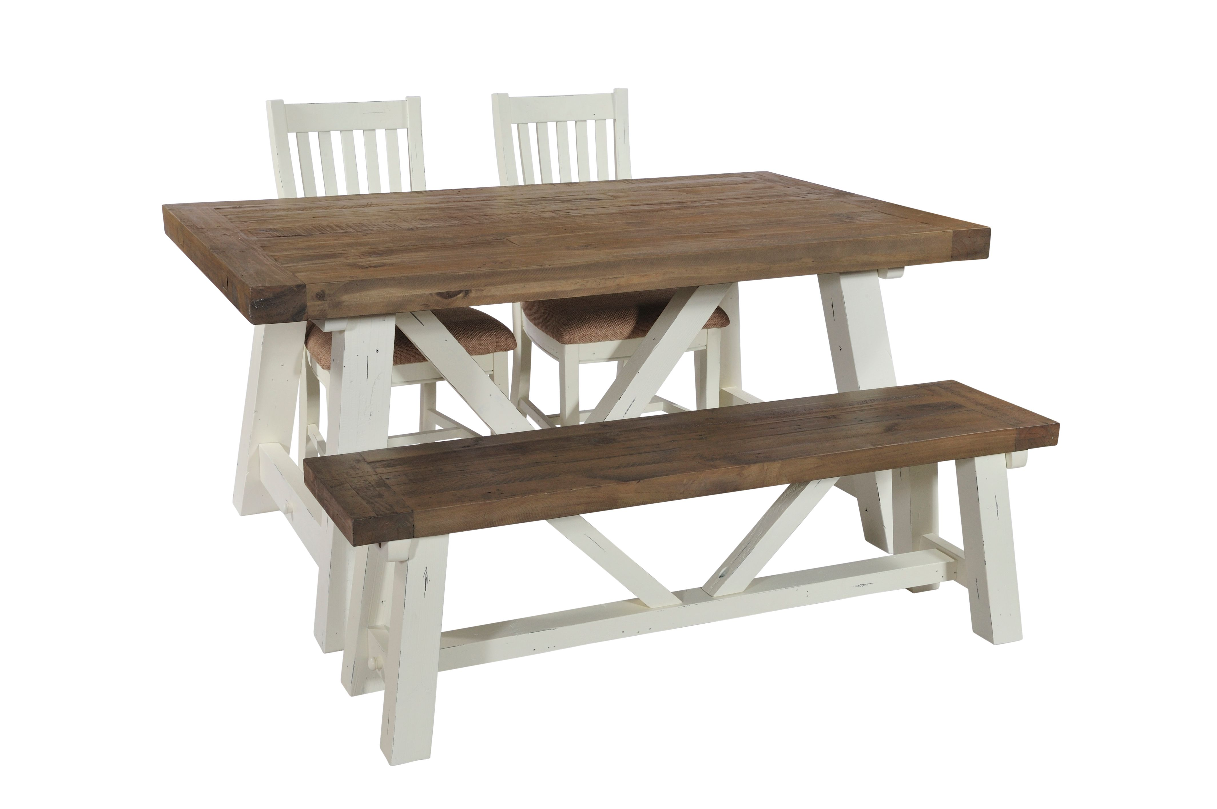 PURBECK 180 BENCH Distressed Paint & Driftwood