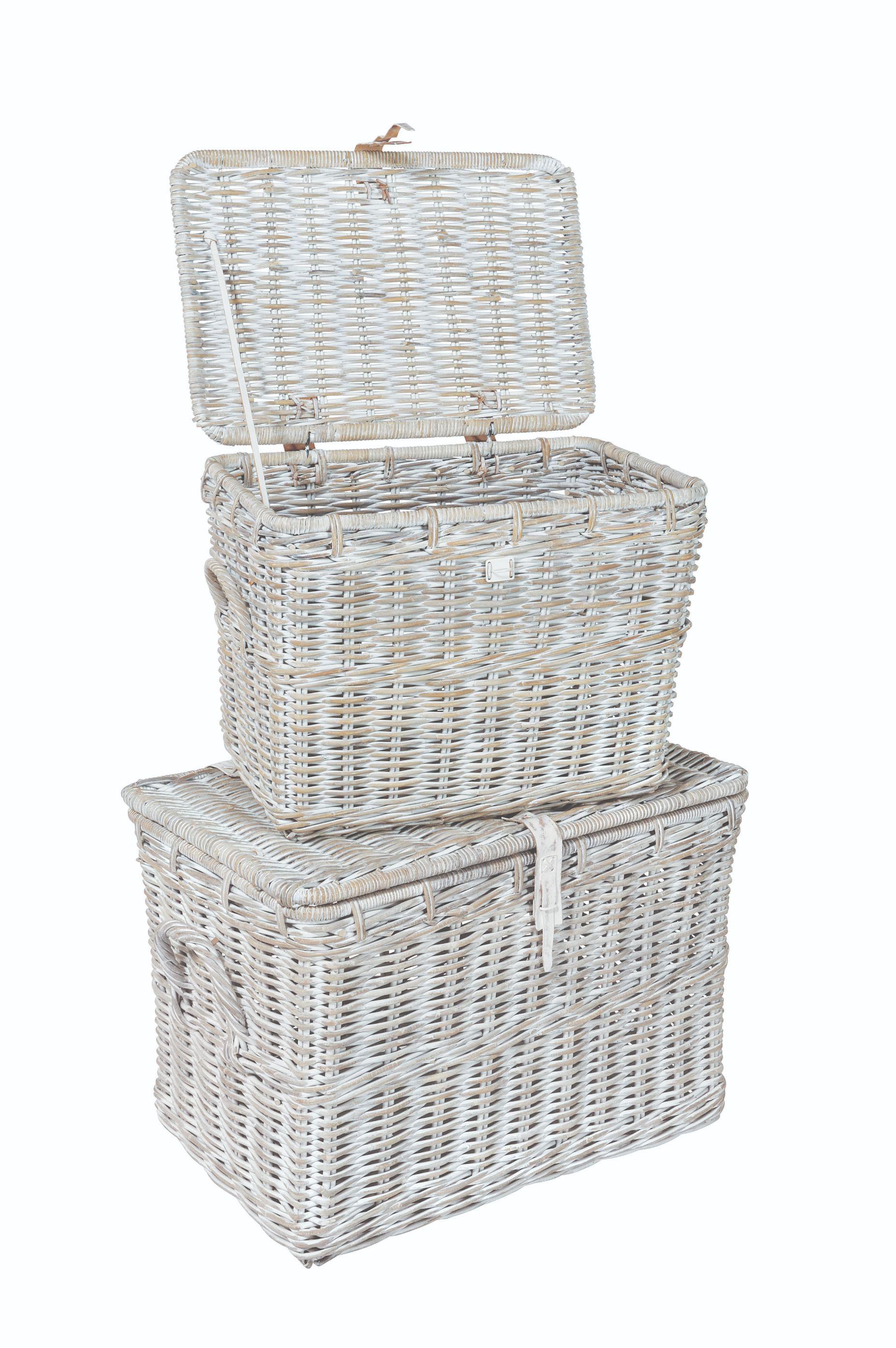 MAYA White Wash 2 Rattan Log Basket Set