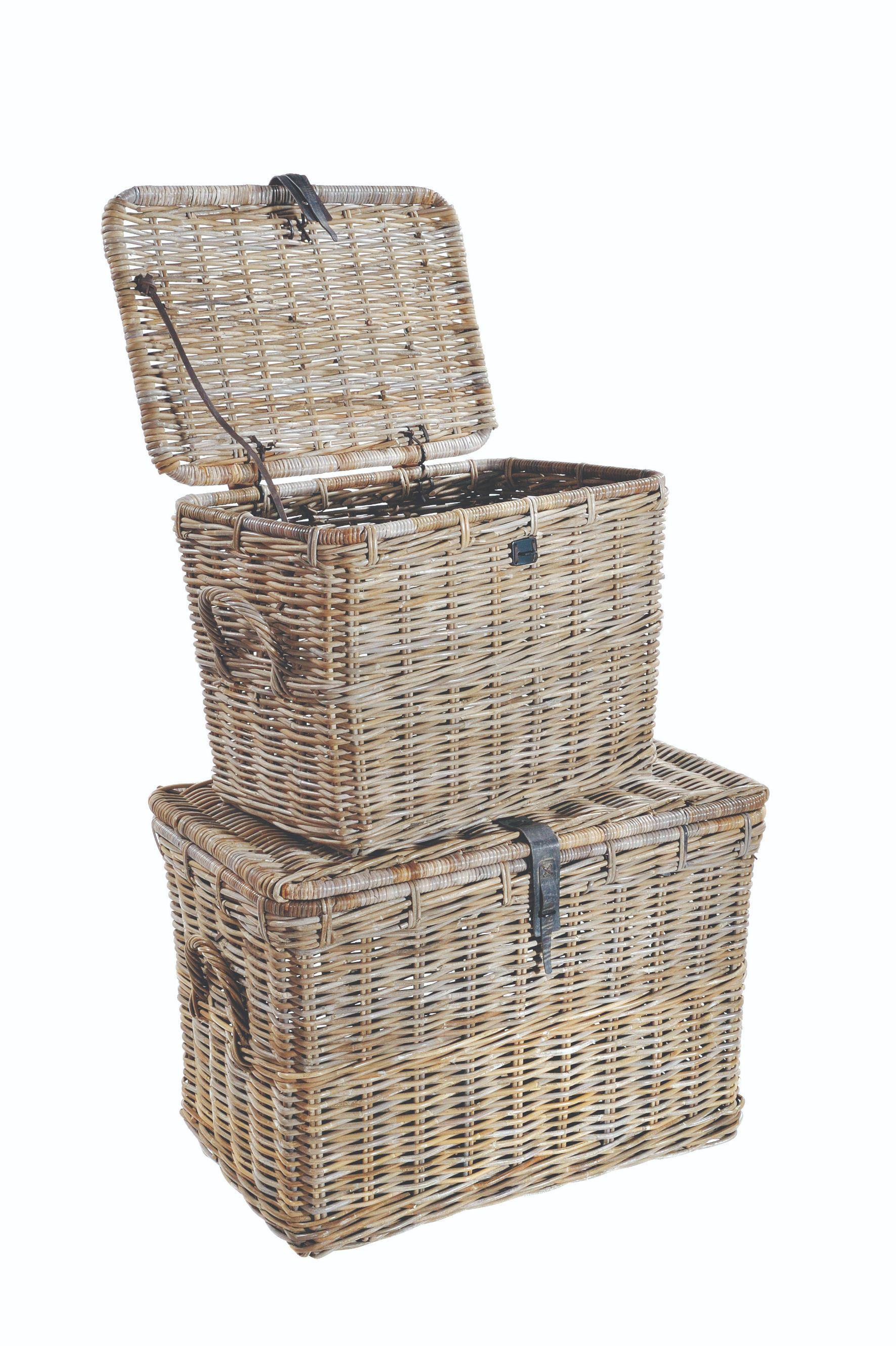 MAYA Grey Wash 2 Rattan Log Basket Set