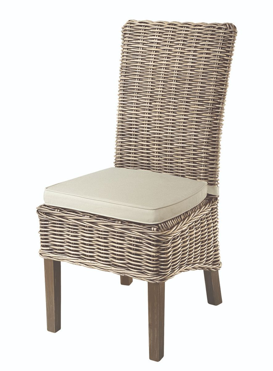 MAYA Grey Wash Rattan Dining Chair