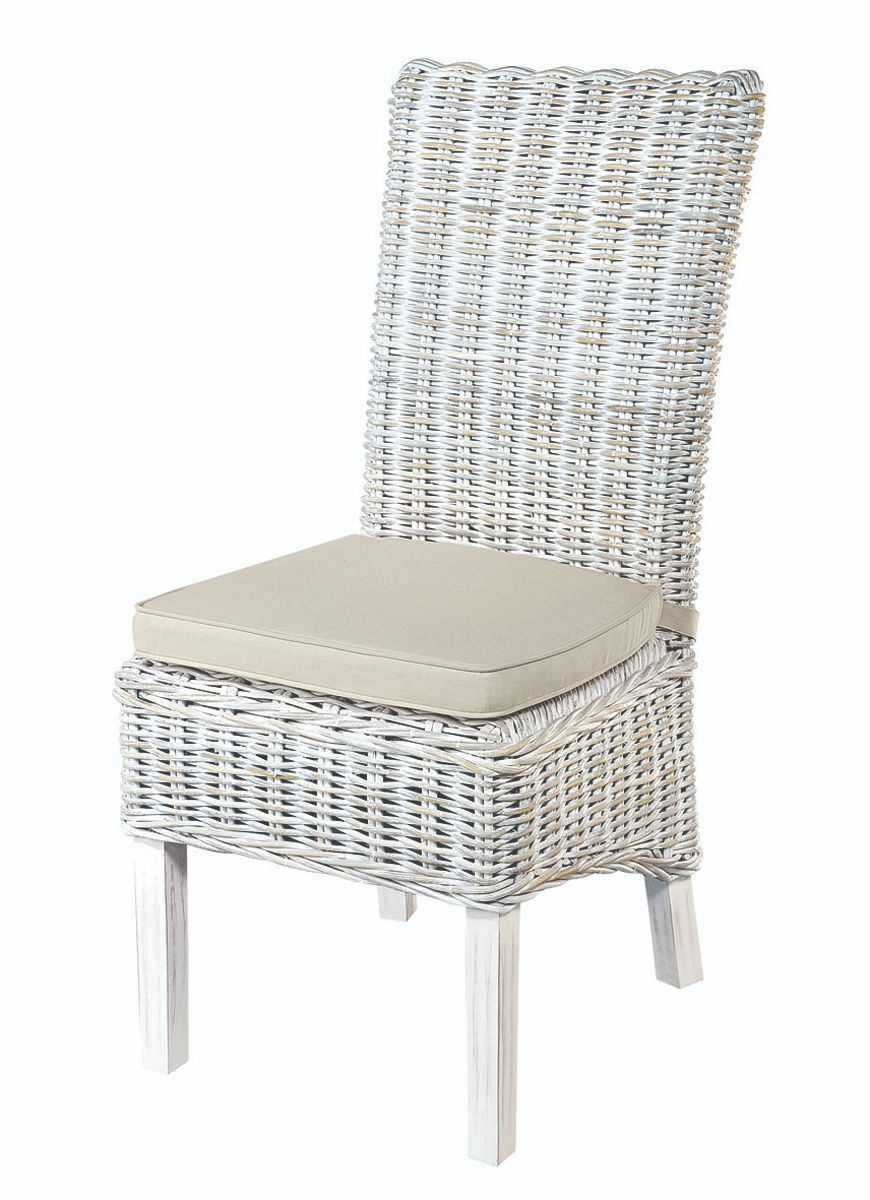 MAYA White Wash Rattan Dining Chair