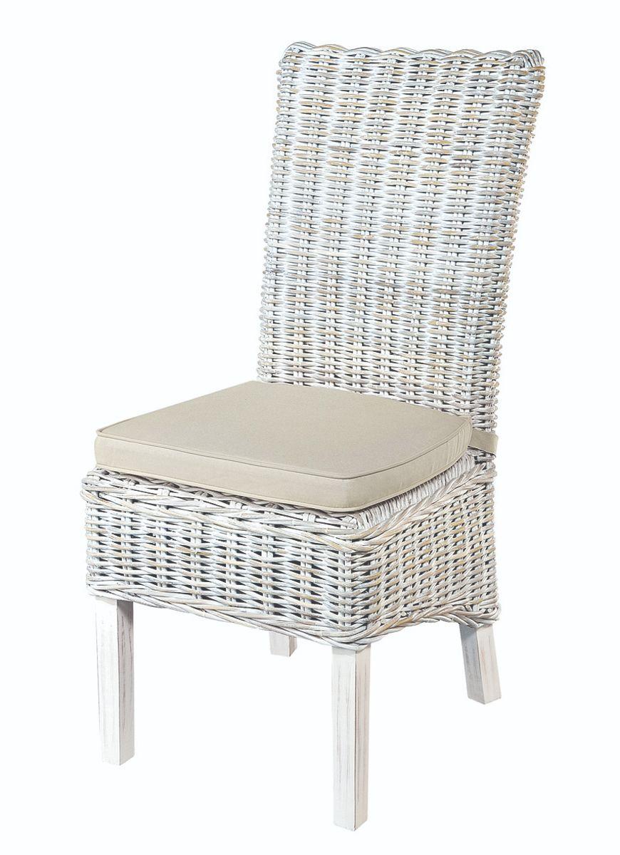 MAYA White Wash Rattan Dining Chair