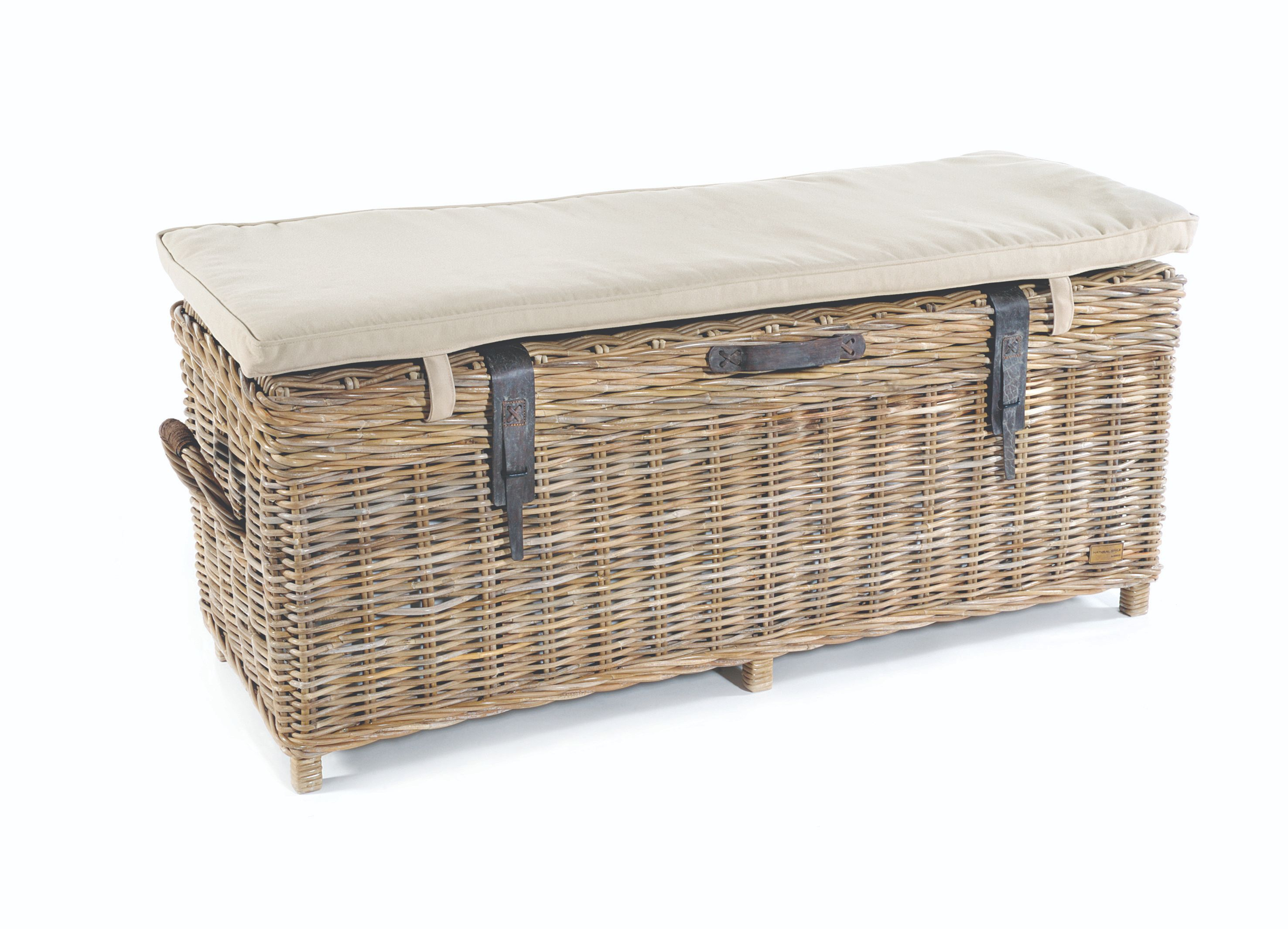 MAYA Grey Wash Rattan Storage Bench