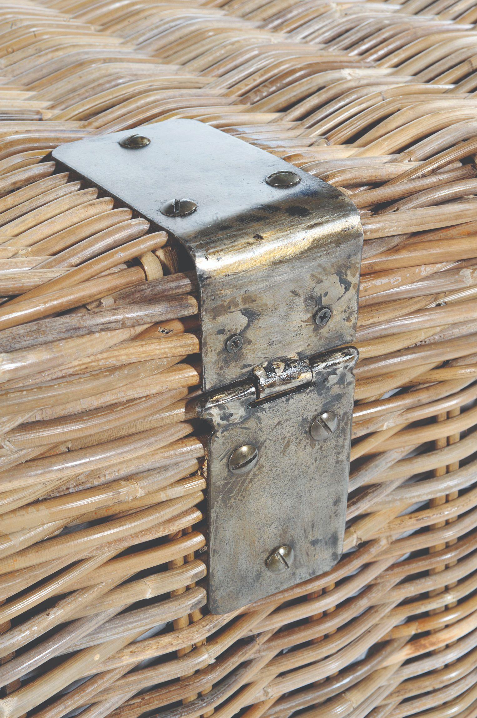 MAYA Grey Wash Rattan Storage Bench