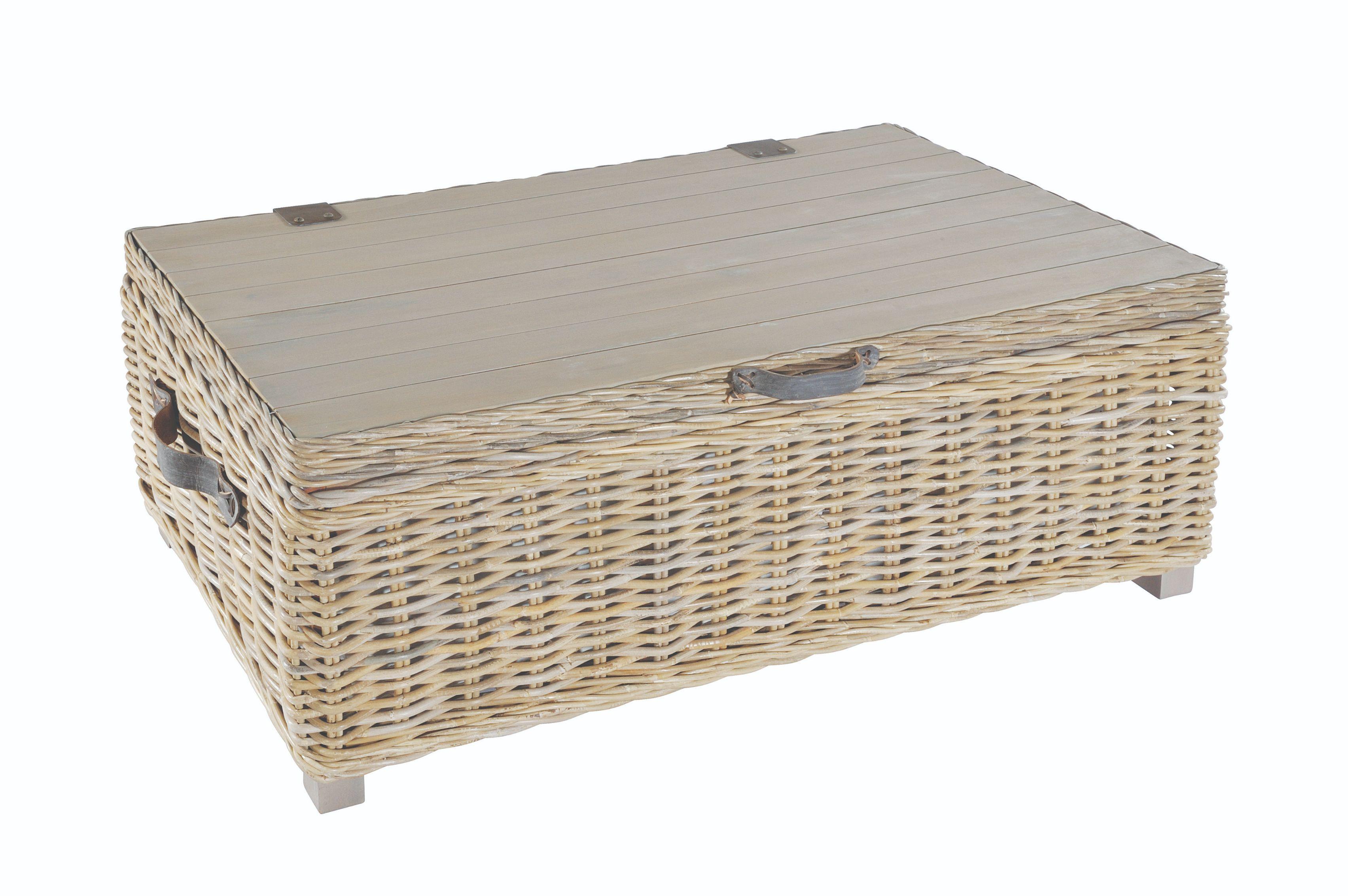 MAYA Grey Wash Rattan Storage Coffee Table