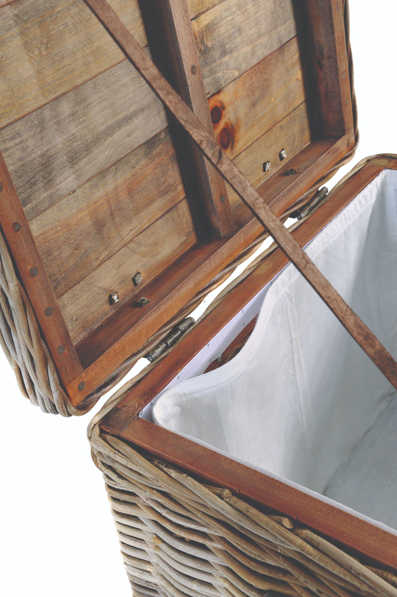 MAYA Grey Wash Rattan Storage Stool