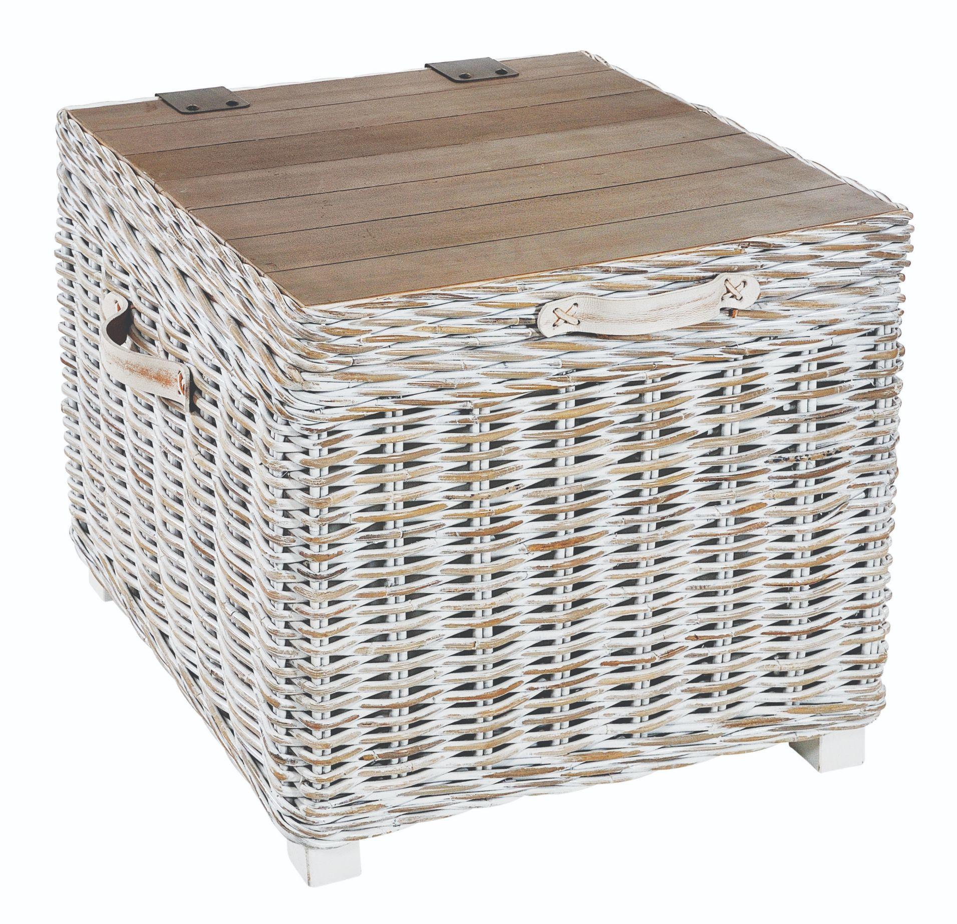 MAYA White Wash Rattan Storage Side Table