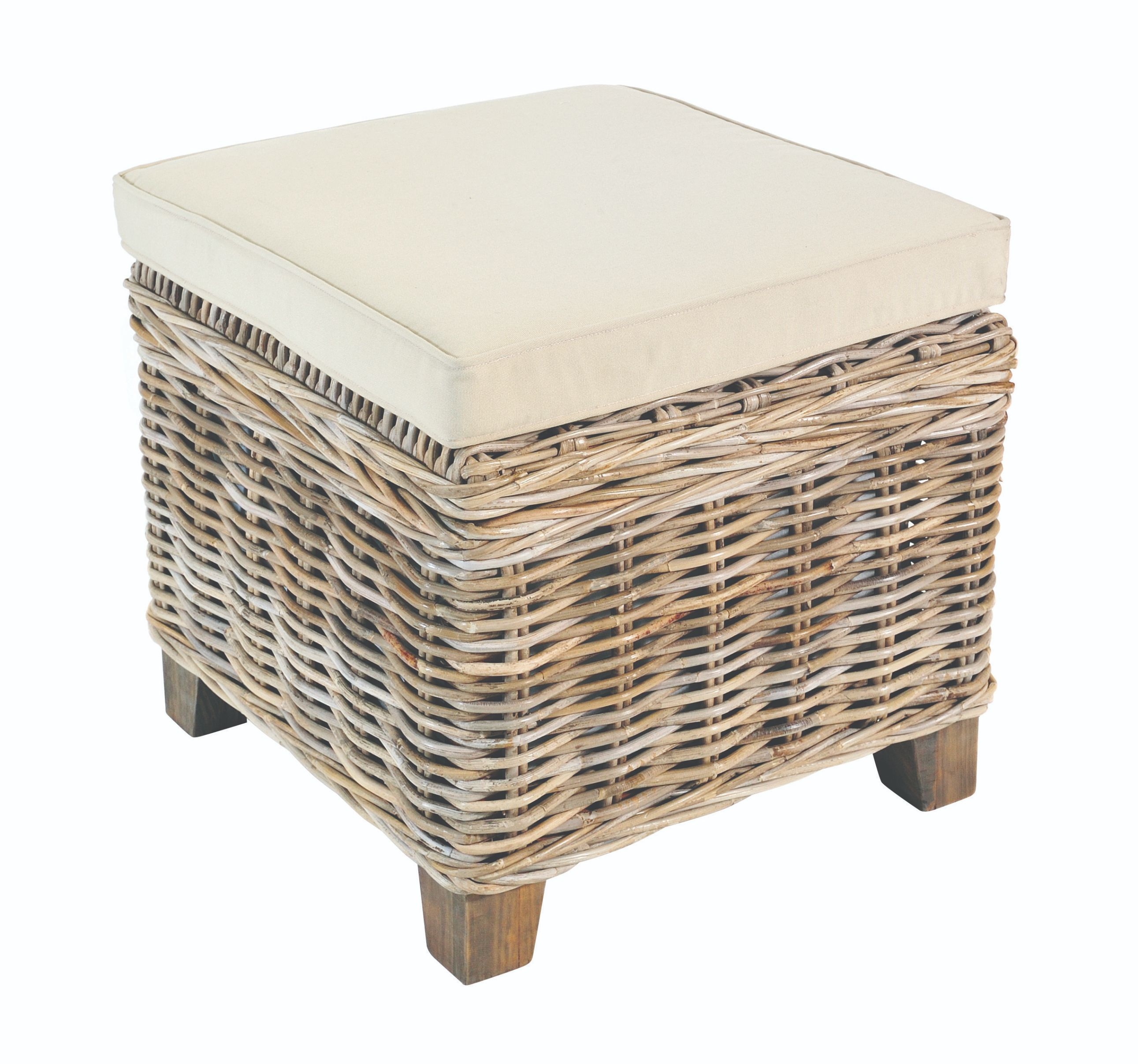 MAYA White Wash Rattan Storage Stool