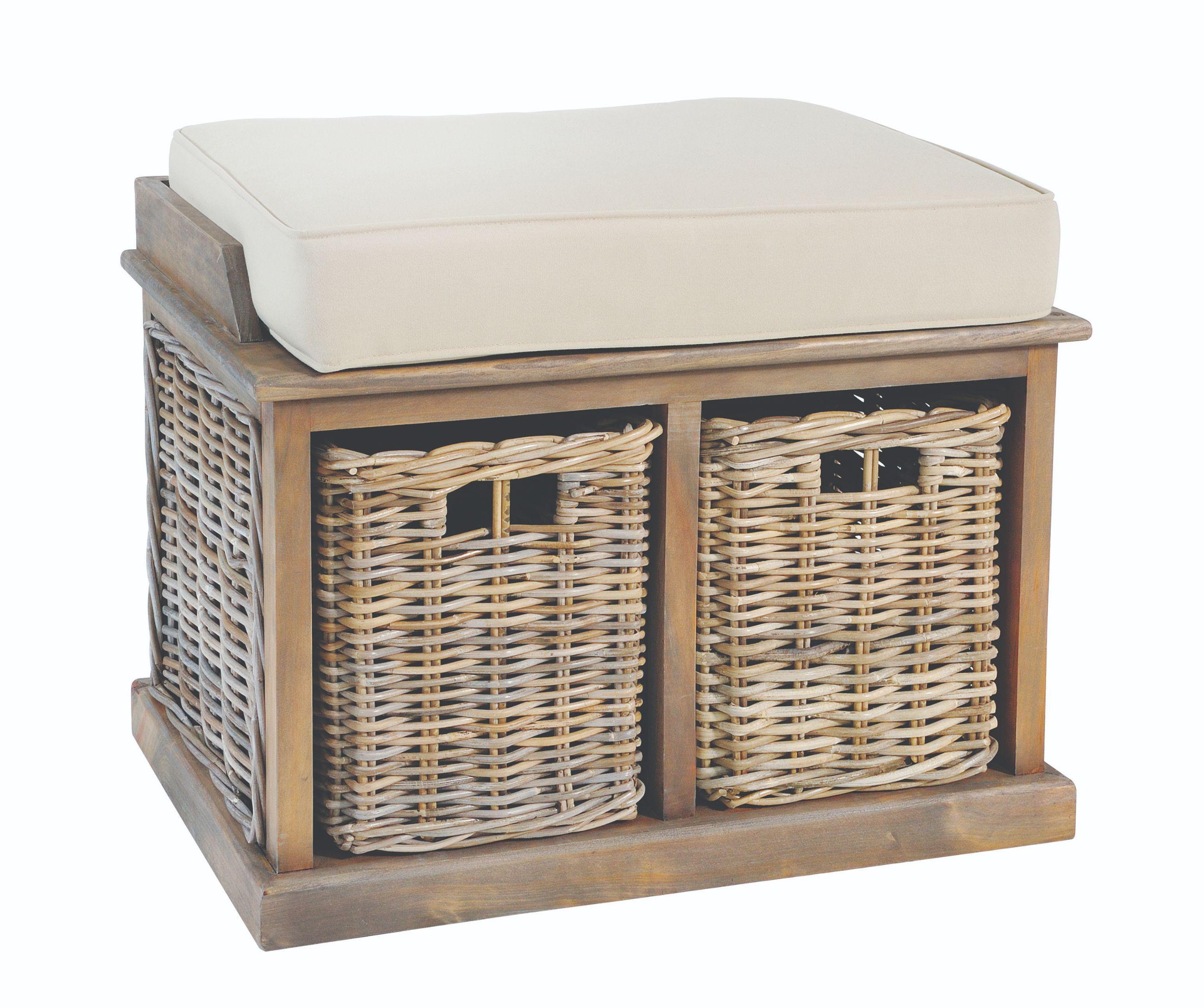 MAYA Grey Wash 2 Rattan Basket Storage Bench