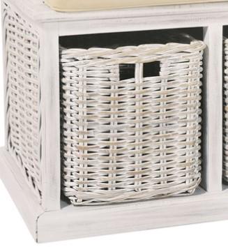 MAYA White Wash 2 Rattan Basket Storage Bench