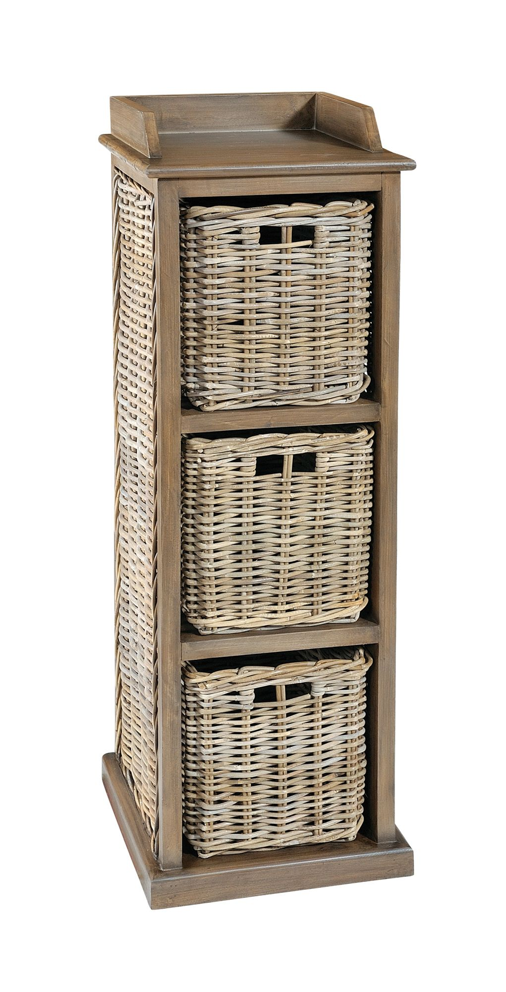 MAYA Grey Wash 3 Rattan Basket Storage Unit