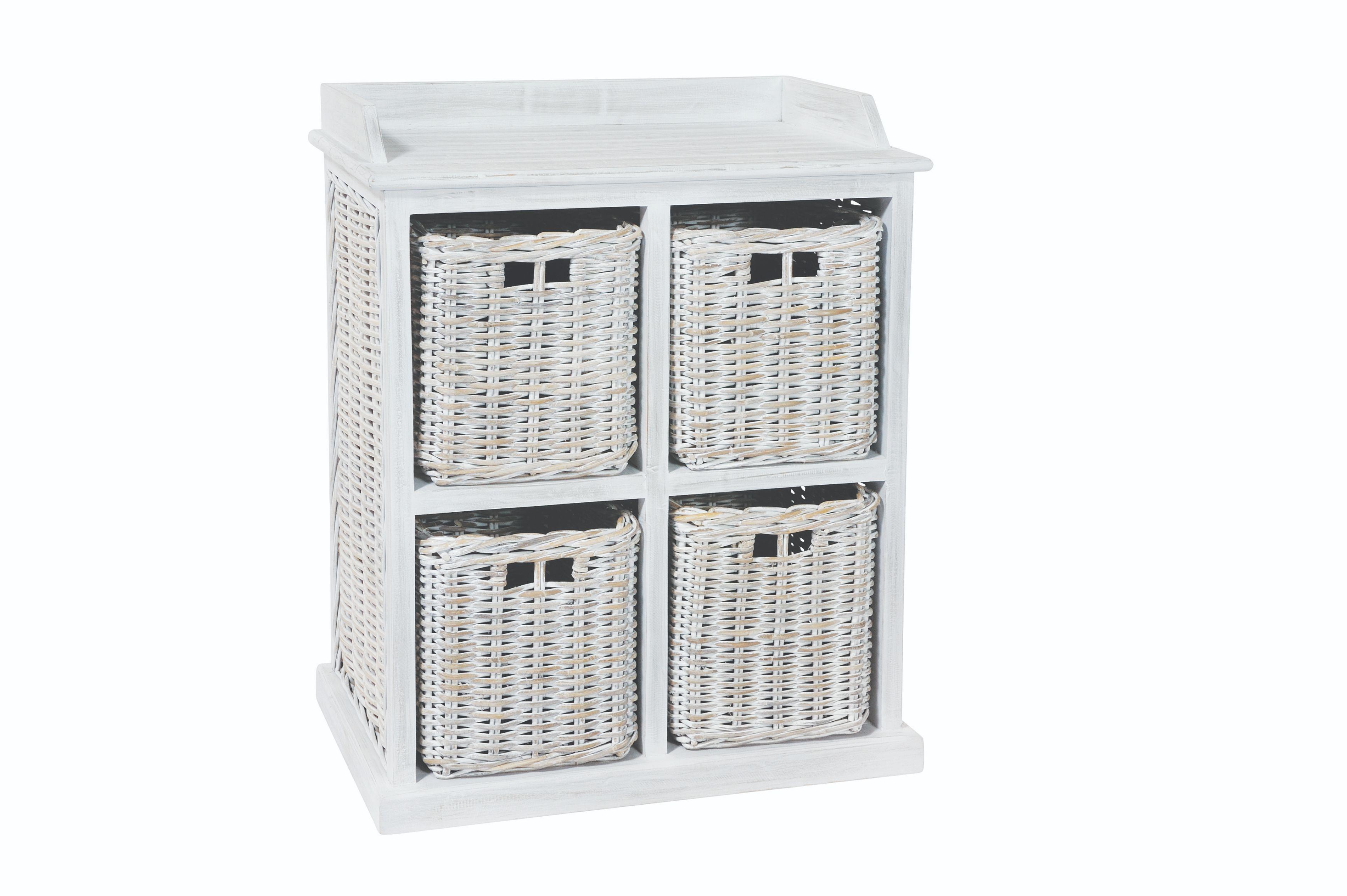 MAYA White Wash 4 Rattan Basket Storage Unit