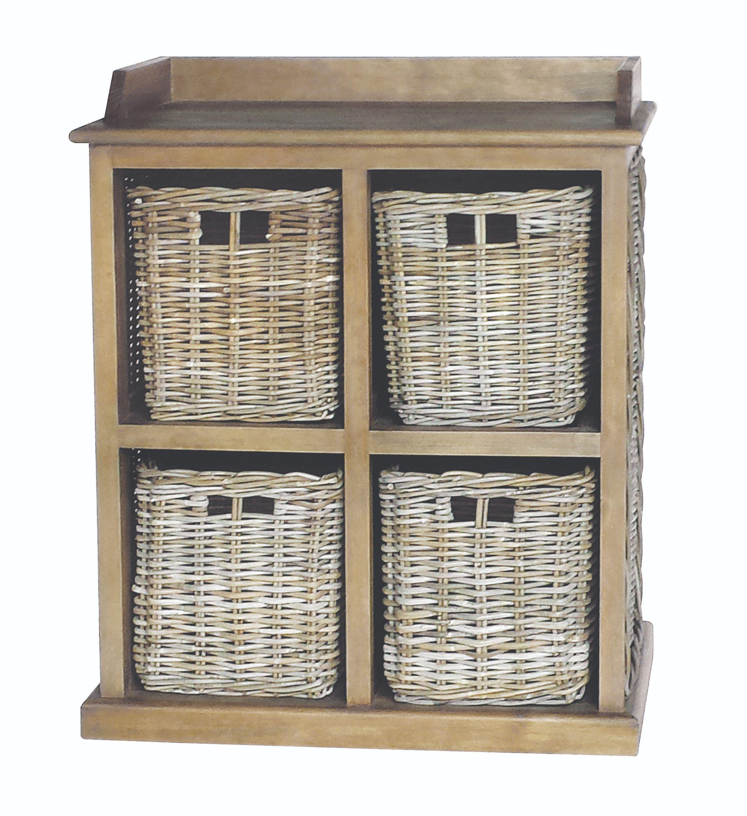 MAYA Grey Wash 4 Rattan Basket Storage Unit