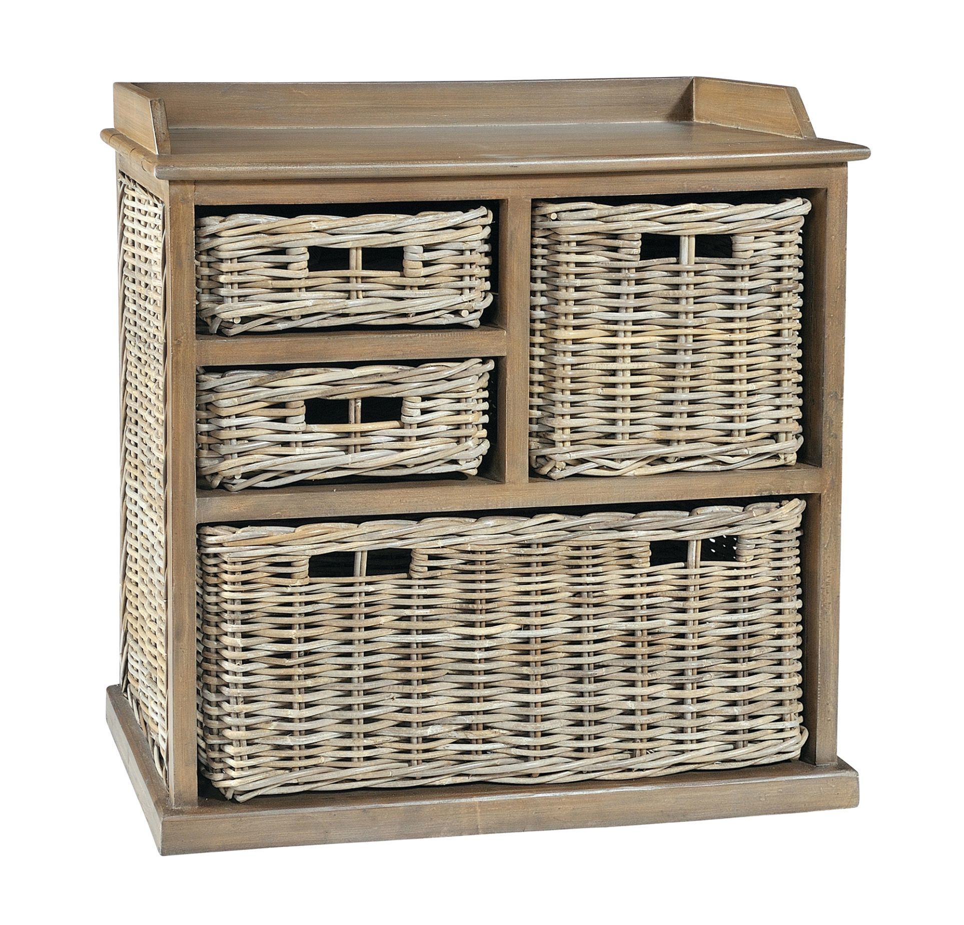MAYA Grey Wash Variety Rattan Basket Storage Unit