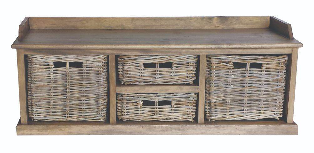 MAYA Grey Wash Multi Rattan Basket Storage Bench
