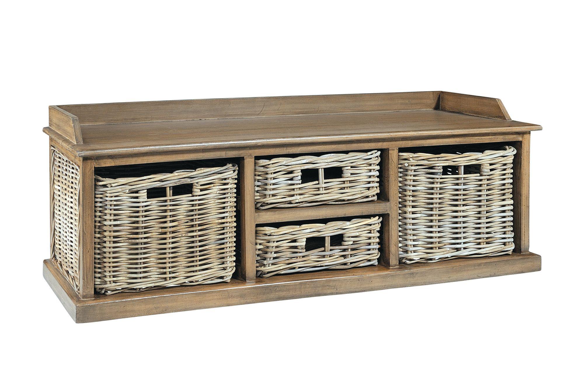 MAYA Grey Wash Multi Rattan Basket Storage Bench