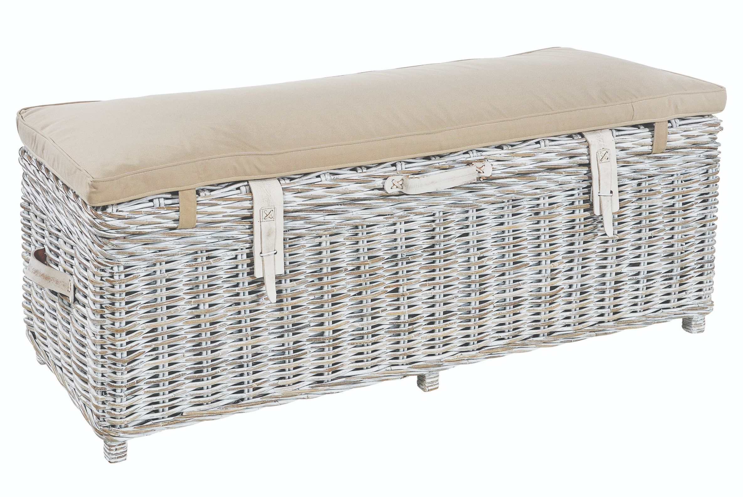 MAYA White Wash Rattan Storage Bench